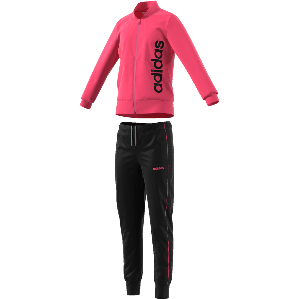 EH6148 Youth Girls Polyester Tracksuit REAL PINK S18/black/REAL PINK S24