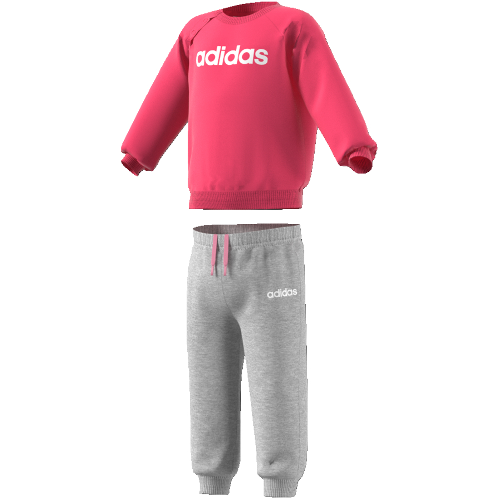EI7962 Linear Jogger Fleece REAL PINK S18/medium grey heather/white